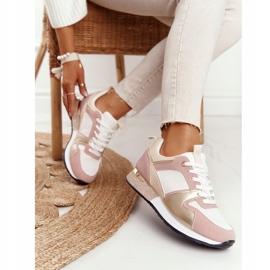 Damskie Sportowe Buty Sneakersy Beżowe Z Brokatem Belinda beżowy wielokolorowe 2