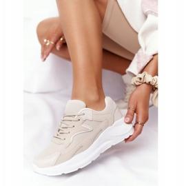 FB2 Damskie Sneakersy Na Dużej Podeszwie Beżowe Delusion beżowy 4