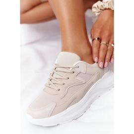 FB2 Damskie Sneakersy Na Dużej Podeszwie Beżowe Delusion beżowy 5