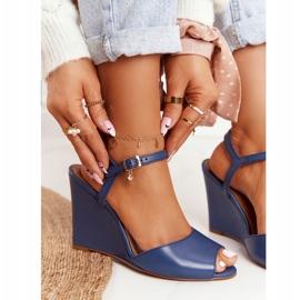 Skórzane Sandały Na Koturnie Laura Messi 2253 Blue niebieskie 3