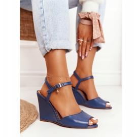 Skórzane Sandały Na Koturnie Laura Messi 2253 Blue niebieskie 2