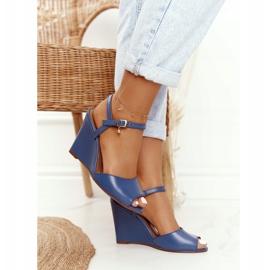 Skórzane Sandały Na Koturnie Laura Messi 2253 Blue niebieskie 4
