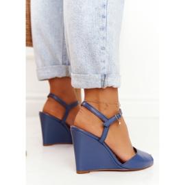 Skórzane Sandały Na Koturnie Laura Messi 2253 Blue niebieskie 5