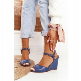 Skórzane Sandały Na Koturnie Laura Messi 2253 Blue niebieskie 6
