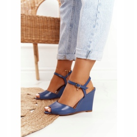 Skórzane Sandały Na Koturnie Laura Messi 2253 Blue niebieskie 1