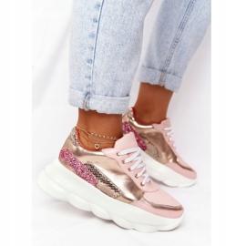 Damskie Sportowe Buty Na Platformie Lu Boo Różowe złoty 2