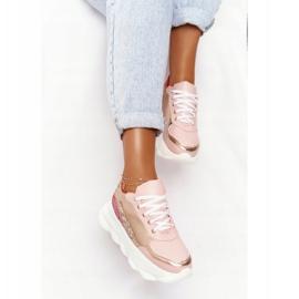 Damskie Sportowe Buty Na Platformie Lu Boo Różowe złoty 3