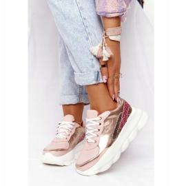 Damskie Sportowe Buty Na Platformie Lu Boo Różowe złoty 1
