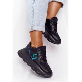 Damskie Sportowe Buty Na Platformie Lu Boo Czarne niebieskie 1