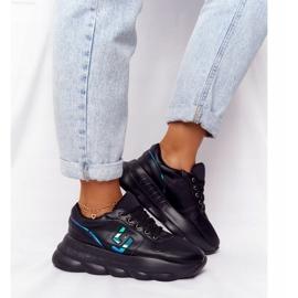 Damskie Sportowe Buty Na Platformie Lu Boo Czarne niebieskie 2