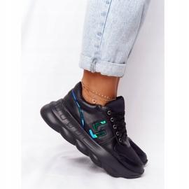 Damskie Sportowe Buty Na Platformie Lu Boo Czarne niebieskie 3
