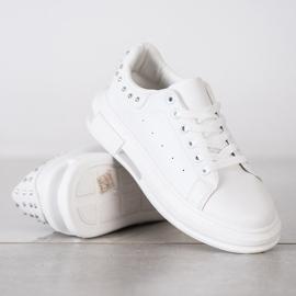 SHELOVET Sneakersy Z Ćwiekami białe 1