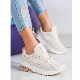 SHELOVET Beżowe Sneakersy Z Siateczką beżowy 4