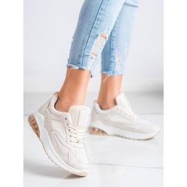 SHELOVET Beżowe Sneakersy Z Siateczką beżowy 1