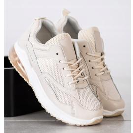 SHELOVET Beżowe Sneakersy Z Siateczką beżowy 2