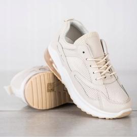 SHELOVET Beżowe Sneakersy Z Siateczką beżowy 3