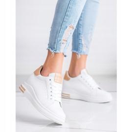 Ideal Shoes Wiosenne Sneakersy Na Koturnie białe 4