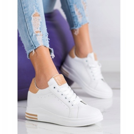 Ideal Shoes Wiosenne Sneakersy Na Koturnie białe 3