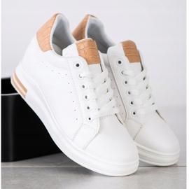 Ideal Shoes Wiosenne Sneakersy Na Koturnie białe 1