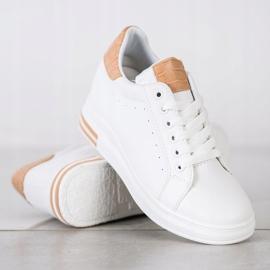 Ideal Shoes Wiosenne Sneakersy Na Koturnie białe 2
