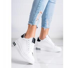 Ideal Shoes Wiosenne Sneakersy Na Koturnie białe czarne 1