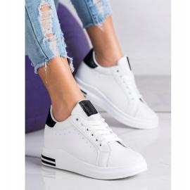Ideal Shoes Wiosenne Sneakersy Na Koturnie białe czarne 4