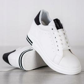 Ideal Shoes Wiosenne Sneakersy Na Koturnie białe czarne 2