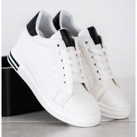 Ideal Shoes Wiosenne Sneakersy Na Koturnie białe czarne 3
