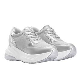 Srebrne sneakersy na grubej podeszwie Amy srebrny 1