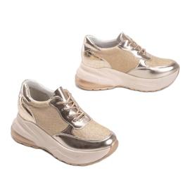 Złote sneakersy na grubej podeszwie Amy złoty 2