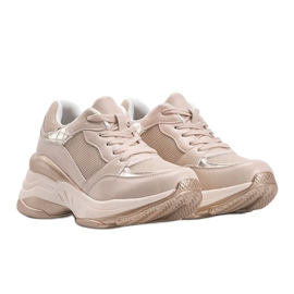 Złote sneakersy na grubej podeszwie Lydia beżowy 1