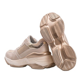 Złote sneakersy na grubej podeszwie Lydia beżowy 2