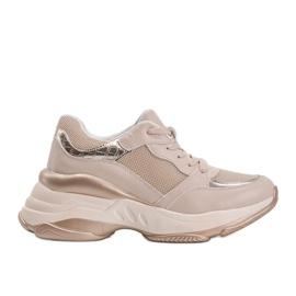 Złote sneakersy na grubej podeszwie Lydia beżowy 4