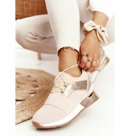 FB2 Damskie Sportowe Buty Sneakersy Beżowo-Złote Netta beżowy złoty 1
