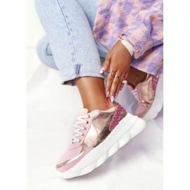 Damskie Sportowe Buty Na Platformie Lu Boo Różowe złoty 4