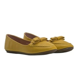Żółte mokasyny damskie z kokardką Ingrid 1