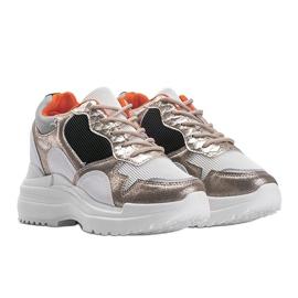 Biało-złote sneakersy na koturnie Alexandra białe złoty 1