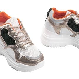 Biało-złote sneakersy na koturnie Alexandra białe złoty 3