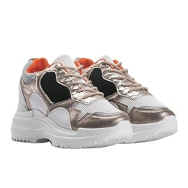 Biało-złote sneakersy na koturnie Alexandra białe złoty 4