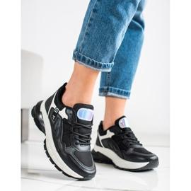 SHELOVET Sneakersy Na Platformie Z Siateczką czarne 3