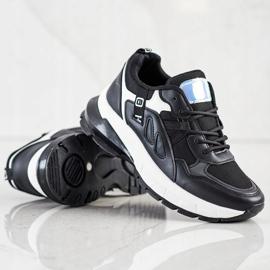 SHELOVET Sneakersy Na Platformie Z Siateczką czarne 1