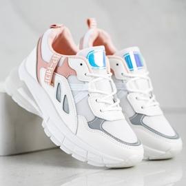 SHELOVET Sneakersy Na Platformie Z Siateczką białe 3