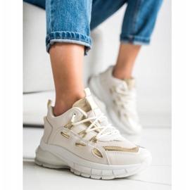 SHELOVET Stylowe Sneakersy Z Eko Skóry beżowy złoty 4