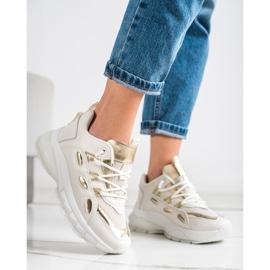 SHELOVET Stylowe Sneakersy Z Eko Skóry beżowy złoty 1
