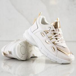 SHELOVET Stylowe Sneakersy Z Eko Skóry beżowy złoty 2