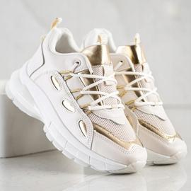 SHELOVET Stylowe Sneakersy Z Eko Skóry beżowy złoty 3