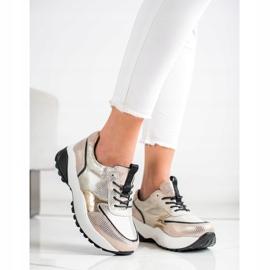 Złote Skórzane Sneakersy VINCEZA czarne złoty 2