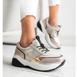 Złote Skórzane Sneakersy VINCEZA czarne złoty 1