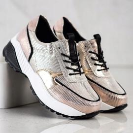 Złote Skórzane Sneakersy VINCEZA czarne złoty 3