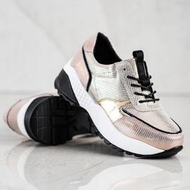 Złote Skórzane Sneakersy VINCEZA czarne złoty 4